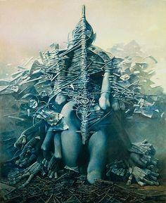 Zdzislaw Beksinski – was a renowned Polish painter, photographer, and fantasy artist. Arte Horror, Horror Art, Macabre Art, Visionary Art, Fantastic Art, Surreal Art, Dark Art, Les Oeuvres, Painting & Drawing