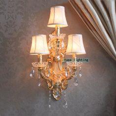 Cristal moderna lâmpada de parede de cristal wall light sconce da cor do ouro lâmpada de parede com tecido abajur hotel de cristal parede de luz(China (Mainland))