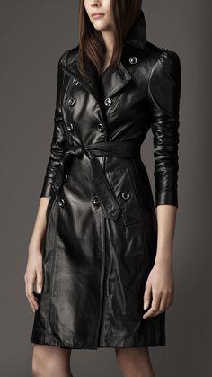 Slikovni rezultat za models-in-leather-trench-coat