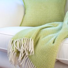 pistachio wool throw and cushion cover by jodie byrne | notonthehighstreet.com