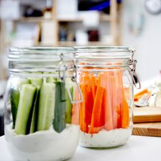 Picnic inspiration: A few simple steps to something unique. Put a layer of dip at the bottom of a jar (blue cheese and sour cream mixed together for example). Then, fill the jar with carrot and cucumber sticks, or any other stick-able veggie. Your starter is ready to hit the road and it will be waiting in the fridge while you prep the rest of your picnic.