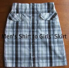 Men's Shirt to Girl's Skirt {tutorial link} - I like the link to the woman's skirt. Great idea for a Hawaiin luau party, if you don't have anything!!