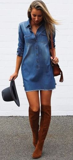 60 Trending And Cool Outfits Of Australian Fashionista : Agatha Denim Dress Fall Outfits, Summer Outfits, Casual Outfits, Denim Fashion, Fashion Outfits, Womens Fashion, Denham Jeans, Jeans Dress, Denim Dresses