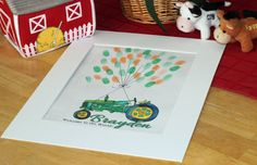 Handpainted Green Tractor/John Deere Thumbprint Birthday Poster