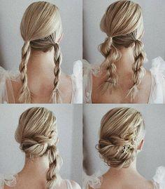 Wedding Hairstyles Tutorial, Cute Hairstyles, Pixie Hairstyles, Gorgeous Hairstyles, Hairstyle Tutorials, Long Hair Tutorials, Simple Braided Hairstyles, Bridal Hair Tutorial, Wedding Hair Tutorials