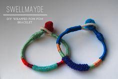 DIY Wrapped Pom Pom Bracelet