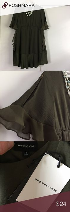 NEW Who What Wear Dress NWT Who What Wear by Target open bell sleeve dress in Paris green. Lined, back zip. Soft silky fabric. So pretty! *I feel the last pic - close up - shows the color most accurately!* Who What Wear Dresses