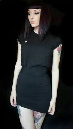 Fred Perry dress, tats, hair & makeup.