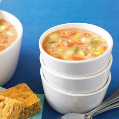 Salmon Corn Chowder with Quick & Healthy Corn Bread - Clean Eating