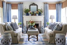 Blue And White Rug, Blue And White Living Room, New Blue, Blue And White Curtains, Southern Living Homes, Southern Living Magazine, Coastal Living, Living Room Decor Traditional, Modern Traditional