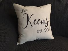this is a custom made EXAMPLE pillow. insert your last name or the last name of a friend along with the anniversary year the couple was married.    a b o u t t h e p r o d u c t     - 16x16 canvas pillow cover - 18x18 - 12x20 - hand-drawn - canvas fabric - black marker      p e r f e c t f o r     - home decor - engagement gift - bridal shower gift - wedding gift - anniversary gift - any gift!      c u s t o m i z e     - custom orders always available! - add last name and anniversary date…