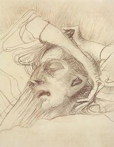 Série Trágica - Flávio de Carvalho, 1947. Desenho I: últimos suspiros de sua mãe.