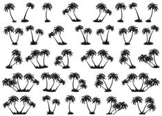 dichroic glass decals | Black Palm Trees Fused Glass Decals 5X7 Card 14-CC-375