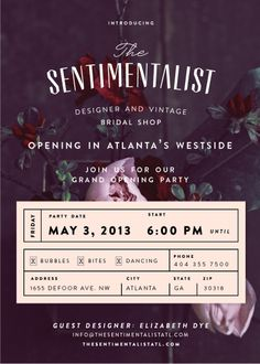 The Sentimentalist: Grand Opening Flyer