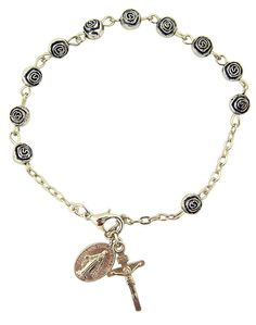 Womens or Girls, Religous and Inspirational Catholic Rosebud Rosary Bracelet, Antique Silver Plate 6 Mm Bead -- 7 3?4' L *** For more information, visit image link.
