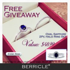 Love Sapphire? Earn your chance to win this stunning ring set now! (Come back to check the result on 28th Jun.) See this ring set: http://www.berricle.com/oval-sapphire-cz-925-sterling-silver-2pc-halo-wedding-ring-set-0-43-ct-jewelry-r671-sp.htm?utm_source=pinterest_medium=organic_content=2013.06.17-r671-sp-product_campaign=giveaway (Oval Sapphire CZ 925 Sterling Silver 2Pc Halo Wedding Ring Set 0.43 Ct) - Biweekly Jewelry Giveaway from Berricle.com