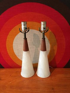 Pair of Walnut And Alabaster Lamps Mid Century Modern Lamps