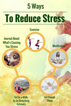 Wellness Tips: 5 ways to naturally reduce stress and anxiety. Tips include exercise and meditation.