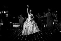 Bride on the dance floor at the Dreams Riviera Cancun Hotel by AM Resorts. Juan Euan Photography