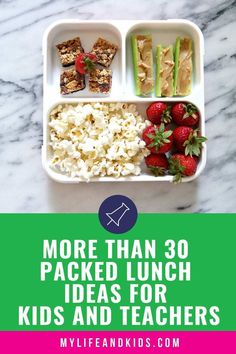 Do you dread packing lunches? These 30 packed lunch ideas are healthy and easy and will inspire you to pack healthy lunches for school every day of the week. From sandwiches Kids Packed Lunch, Healthy Packed Lunches, Healthy School Lunches, Prepped Lunches, Pregnancy Lunches, Clean Eating Snacks, Healthy Eating, Healthy Food, Healthy Cooking