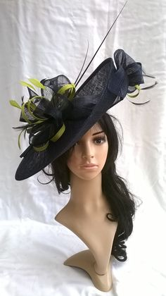 Navy Blue   Lime Hatinator..Stunning Sinamay Fascinator Hat on a Headband. a62c5dc14970