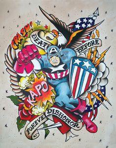 Vintage Style Captain America Tattoo Flash #marvel