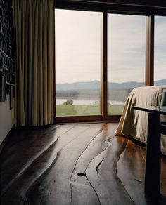A bedroom overlooking the Hudson River