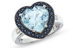 10K White Gold 4 1/2 CT TGW Sky Blue Topaz Sapphire CT TDW Accent Diamond Heart Ring (G-H, I1-I2) 0.01
