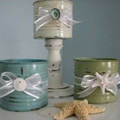 Distressed tin can + candlestick = awesome accent (candle, plant, spooner, candy, etc. Soup Can Crafts, Tin Can Crafts, Crafts To Do, Arts And Crafts, Diy Crafts, Aluminum Can Crafts, Aluminum Cans, Recycled Tin Cans, Repurposed