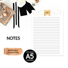 Rose Gold Printable A5 Planner Inserts Notes Pages by PlanningZen