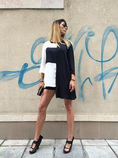 Asymmetric Extravagant Maxi Black and White Shirt, Oversize Viscose Design Sleeves, Plus Size Maxi Viscose Tunic by SSDfashion