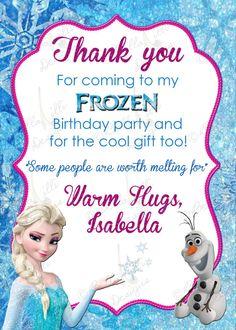 Printable Frozen Thank you Card