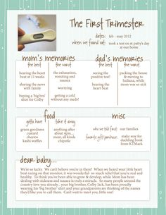 simple pregnancy journal. summary of each trimester.