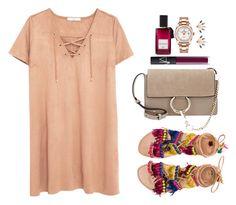 """beige and purple"" by etana-e on Polyvore featuring мода, Diana Vreeland Parfums, Elina Linardaki, MANGO, Chloé, NARS Cosmetics, Pamela Love и Rolex"