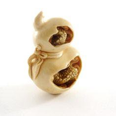 Mammoth Ivory Netsuke - Dragon in a Bottle Gourd