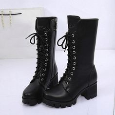 Military Madam Boots Vegan faux leather zip up boots with a lace-up look that come to a great mid-shin length. Black Combat Boots, Black Leather Boots, Leather Booties, Combat Boots Heels, Women's Boots, Ankle Shoes, Ankle Booties, Rain Shoes, High Heel Boots