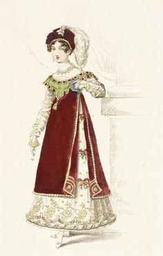 Fashion Plate (Danish Fancy Dress Worn at the Prince Regents Fête) John Bell, August 1819 Regency Dress, Regency Era, Historical Costume, Historical Clothing, 1800s Clothing, Jane Austen, Victorian Fancy Dress, Victorian Dresses, Victorian Gothic