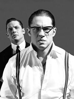 Tom Hardy as Ronnie and Reggie Kray | photos by Greg Williams | Sunday Times Magazine (Aug. 23, 2015)