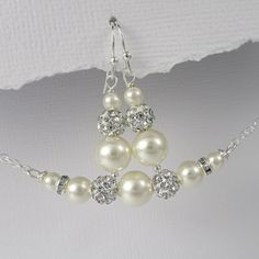 Swarovski Ivory Pearl Bridesmaid Gift, Wedding Jewelry Set, Ivory Pearl Necklace and Earring Set, Bridesmaid Jewelry Set, Bridesmaid Gift