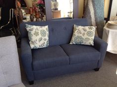 Love Seat - Grey blue upholstered love seat..   Item 1342-4. Price $500.00   - http://takeitorleaveit.co/2016/10/06/love-seat-4/