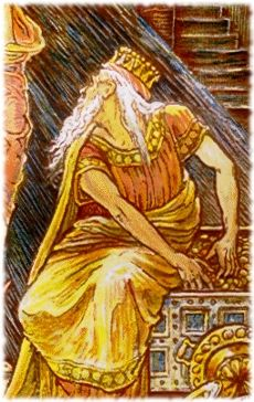 King Midas loved to count his golden coins. King Midas, Greed, Count