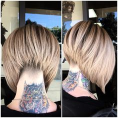 """sydniiee   """"Undercut•Stacked A-line•StretchedRoot This was fun! TONS of hair even tho half is shaved off!"""