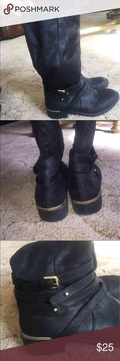 Suede Mid Length Boots Suede mid length black boots with side zip closure and gold metal details. Worn 2 or 3 times. Candie's brand size 6. Candie's Shoes Winter & Rain Boots