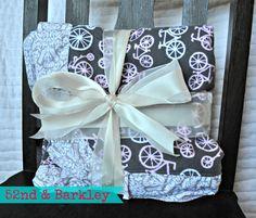 pink bicycles flannel baby blanket by 52ndandBarkley #etsy, #52ndandBarkley