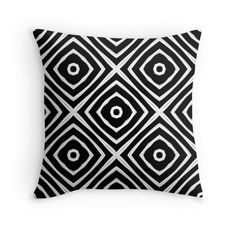 Squares - Throw Pillow Cover - Black - pop over to the designer's own shop at annumar.com