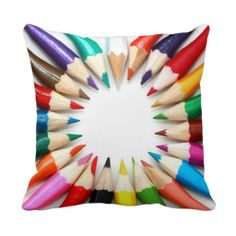Colorful Pencil Colors Gifts for Art Teachers Throw Pillow Accent Cushion SOLD on Zazzle