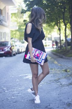 Black Jumpsuit With Adidas Superstar | BeSugarandSpice - Fashion Blog