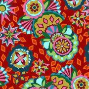 Tecido patchwork totem fundo vermelho  coleção Afonso Franco