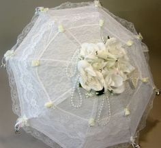 Bridal Shower decorated Lace Parasol by DesignbyNina on Etsy, $30.00