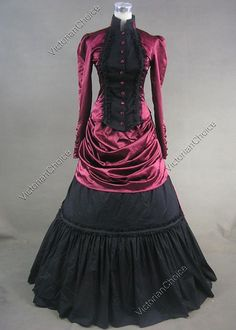 Victorian French Bustle Satin Gothic Dress Ball Gown Reenactment Clothing Stage Costume